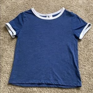 H&M Blue and White Short Sleeve T-Shirt Small